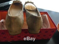 NiB, Tory Burch GiGi Pump ROYAL Suede Grey Shoes Logo Block Med Heel Sz 8.5