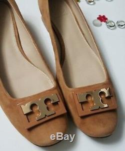 NiB, Tory Burch GiGi Pump ROYAL TAN Suede Gold Shoes Logo Block Med Heel Sz 7.5