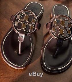 Nib $228 Tory Burch Metal Miller Sandal Sz 6.5 Flip Flop Malbec/ Rosegold Trim