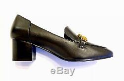 Nib $358 Tory Burch Jessa Black Leather Pump Gold Equestrian Hardware Sz 8m