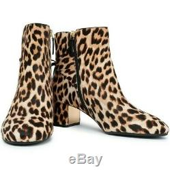 Nib $448 Tory Burch Laila 50 MM Bootie Boots Leopard Printed Haircalf Size 9 M