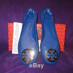 Nib Authentic Tory Burch Reva Cobalt Blue Nile Shoes Gold Logo 10