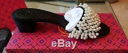 Nib Tory Burch Black Tatiana 9 Pearl Embellished Block Heel Quilted Slide Sandal