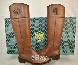 Nib Tory Burch Brown Lowell Grosgrain Leather Reva Tall Zip Riding Boots 6.5
