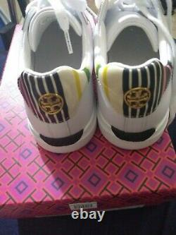 Nib. Tory Burch Howell Court Shoes White Pink Calf Leather Sneakers US 7.5