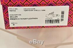 Nib Tory Burch Miller Tortoise Shell Reva Patent Leather Flats Thong Sandals 8
