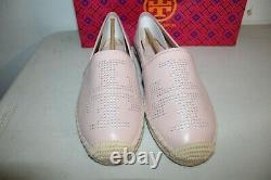 Nib Tory Burch Perforated Logo Flat Espadrille Shoes Pink Leather