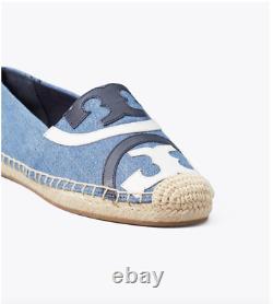 Nib Tory Burch Poppy Espadrille Flats Shoes Denim Canvas Calf Leather 9