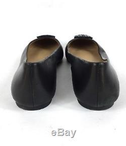 Size 11 Tory Burch Melinda Black Leather Logo Slip On Ballet Flats