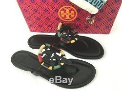 Sz. 8.5 Tory Burch MILLER Thong Sandal Black Leather Flip Flop Slide Flat Shoes