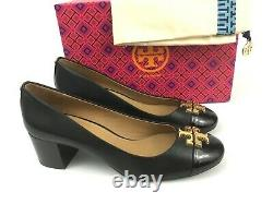 Sz. 9 TORY BURCH Everly Cap Toe Black Leather Pumps Gold Logo Heel Shoes