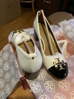 TB Every 50MM Ivory/Black Pump/NapaLeather/PatentLeather Shoes/size 6.5/7/7.5/8