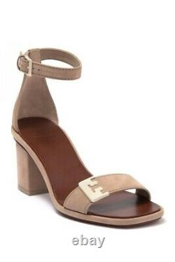 TORY BURCH $295 Suede Leather Gabrielle Block Heel Sandals Shoes Size 6.5 M