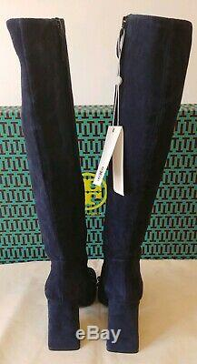 TORY BURCH Addison 95MM Royal Navy Lancaster Suede Tall Boots NIB $678 Size 7M