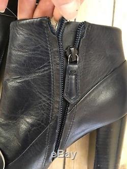 TORY BURCH Ankle Bootie Bond Booties Zip Heeled Navy Blue Boots 7 READ DESCRIPT