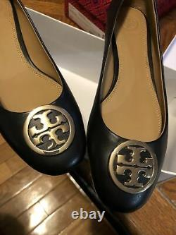 TORY BURCH Benton 2 25mm Ballet Nappa Leather Flat Shoes Perfect Black Size 8
