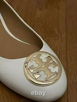 TORY BURCH Benton 2 Ballet Flat Shoes Leather New Ivory/Gold $248.00 NWT