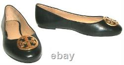 TORY BURCH Black/Gold Leather Flat Shoes 7.5M