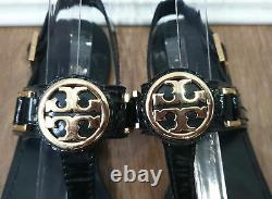 TORY BURCH Black Patent Leather Gold Logo Ankle Strap Thong Sandals Shoes UK7