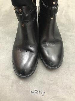 TORY BURCH Blaire Riding Boots Flannel & Black Leather Logo Sz 8 #A