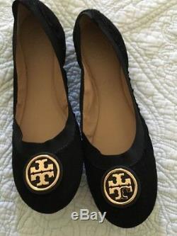 TORY BURCH Caroline Ballet Flat Shoe Black Suede Women Size 10 NEW