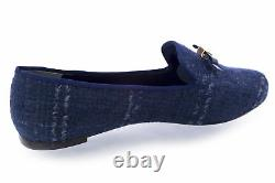 TORY BURCH Chandra Glazed Tweed Loafers Shoes Navy Combo $250