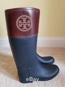 TORY BURCH Classic Rain Boots Women Black /Almond Size 11M