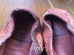 TORY BURCH Eddie Snakeskin Leather Ballet Flats Shoes Wild Berry Orange 10 $250