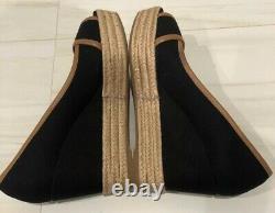 TORY BURCH Filipa BLACK/CREAM Espadrille Wedge Peep Toe Shoes Women's Size 6.5