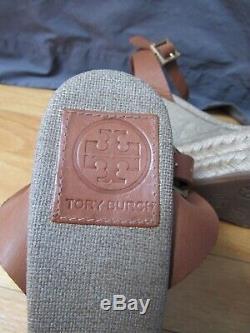 TORY BURCH Gold Metallic Canvas Platform Sandals Espadrilles Shoes 8 New