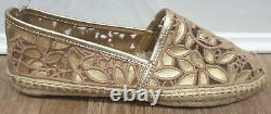 TORY BURCH Gold Natural Metallic Leather Flat Espadrille Sandals Shoes UK6 NEW