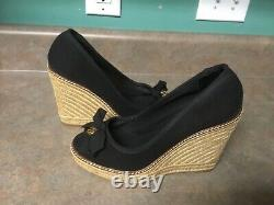 TORY BURCH JACKIE Black Canvas Wedge Heels Shoes Size 9B (CON37)