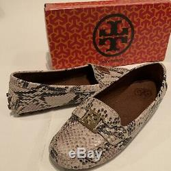 TORY BURCH Kendrick Tumbled Leather Loafer Shoes Python Leather Size 7
