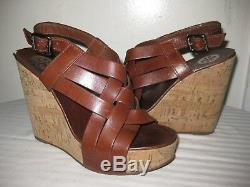 TORY BURCH Leather Brown Strappy Cork Wedge Sandals Shoes Women's Size 6.5 M