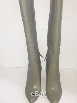 TORY BURCH Linnett Grey Wedge Tall Leather Knee High Boots, Size 9, NIB