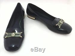 TORY BURCH Loafers Blue Green Patent Leather Gold Logo Womens Shoes US 8.5 EU 39