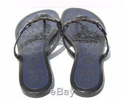 TORY BURCH MILLER SCALLOP BLACK/NAVY FLIP FLOP THONG SANDAL Size 13 $228