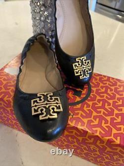 TORY BURCH Melinda Ballet Flats Black Leather Gold Logo Womens Shoes Size 7M