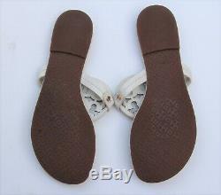 TORY BURCH Miller Bleach White Leather Thong Sandals Slipper Flip Flops Sz 8.5