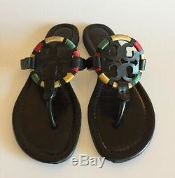 TORY BURCH Miller Colorful embroidery thread logo medallion Thong Sandal Sz 9 M