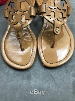 TORY BURCH Miller Sand Beige Nude Patent Leather Sandal Sz 7 #E6
