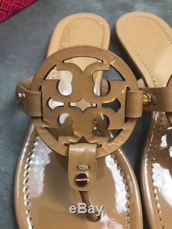 TORY BURCH Miller Sand Beige Patent Leather Thong Sandal Sz 7 #F12
