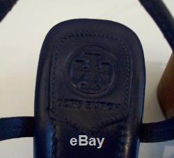 TORY BURCH Miller Sandals Block Heels Navy Leather Sz 10 New With Box FREE SHIP