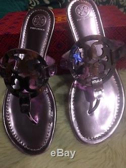 TORY BURCH Miller Sandals Metallic Purple Mirror Rosa SZ 9 Shoes Thongs Womens