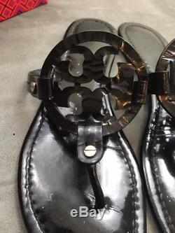 TORY BURCH Miller Shiny Black Patent Leather Thong Sandal Sz 9.5 #A82