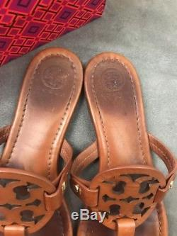 TORY BURCH Miller Vintage Vachetta Brown Cognac Leather Thong Sandal Sz 8 #D41