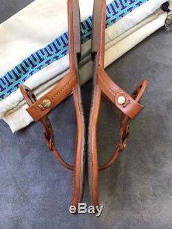 TORY BURCH Miller Vintage Vachetta Brown Leather Thong Sandal Sz 8.5 #D20