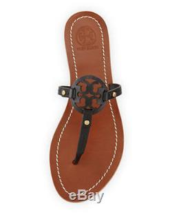 TORY BURCH Mini Miller Thong Sandals Black Lthr Sz 10 New In Box FREE SHIPPING