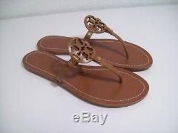 TORY BURCH Mini Miller Thong Sandals Royal Tan Leather Sz 9 New In Box FREE SHIP