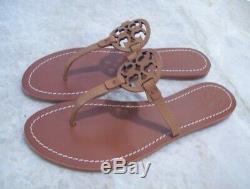 TORY BURCH Mini Miller Thong Sandals Royal Tan Lthr Size 8 New In Box FREE SHIP